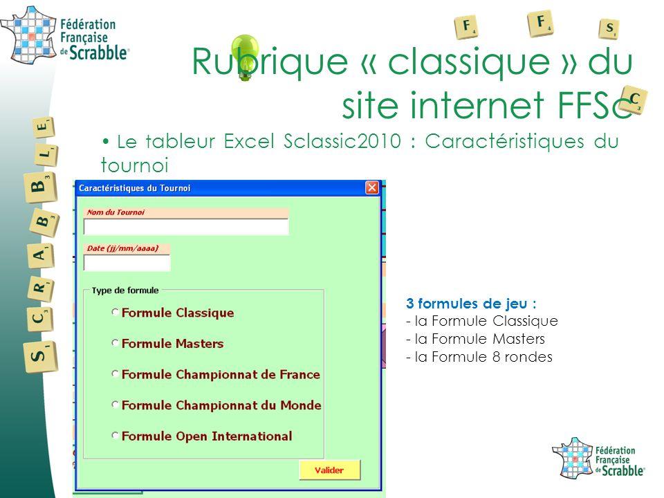 Le t ableur Excel Sclassic2010 : Caractéristiques du tournoi Rubrique « classique » du site internet FFSc 3 formules de jeu : - la Formule Classique - la Formule Masters - la Formule 8 rondes