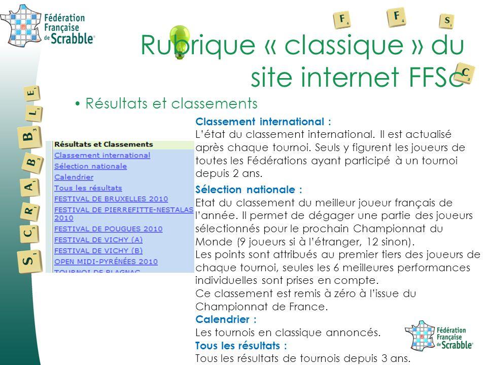 Résultats et classements Rubrique « classique » du site internet FFSc Classement international : Létat du classement international.