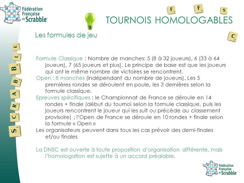 TOURNOIS HOMOLOGABLES Formule Classique : Nombre de manches: 5 (8 à 32 joueurs), 6 (33 à 64 joueurs), 7 (65 joueurs et plus).