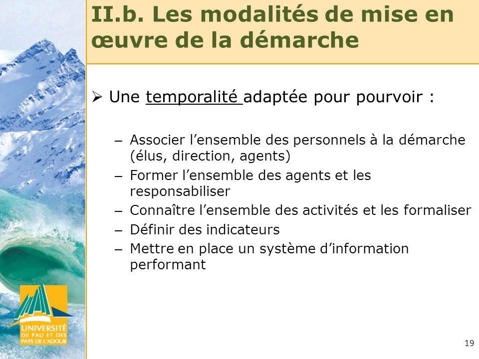 19 II.b. Les modalités de mise en œuvre de la démarche Une temporalité adaptée pour pourvoir : – Associer lensemble des personnels à la démarche (élus