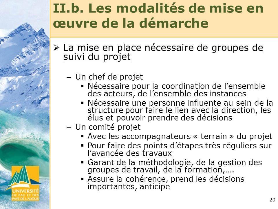 20 II.b. Les modalités de mise en œuvre de la démarche La mise en place nécessaire de groupes de suivi du projet – Un chef de projet Nécessaire pour l