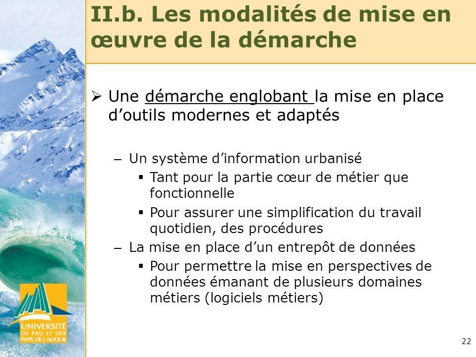 22 II.b. Les modalités de mise en œuvre de la démarche Une démarche englobant la mise en place doutils modernes et adaptés – Un système dinformation u