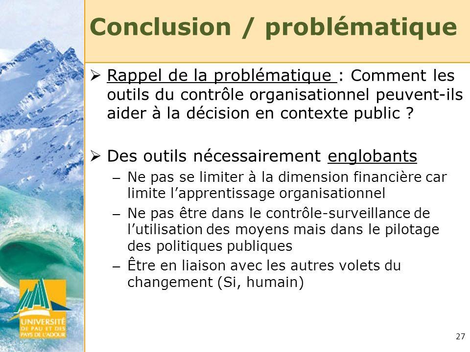 27 Conclusion / problématique Rappel de la problématique : Comment les outils du contrôle organisationnel peuvent-ils aider à la décision en contexte