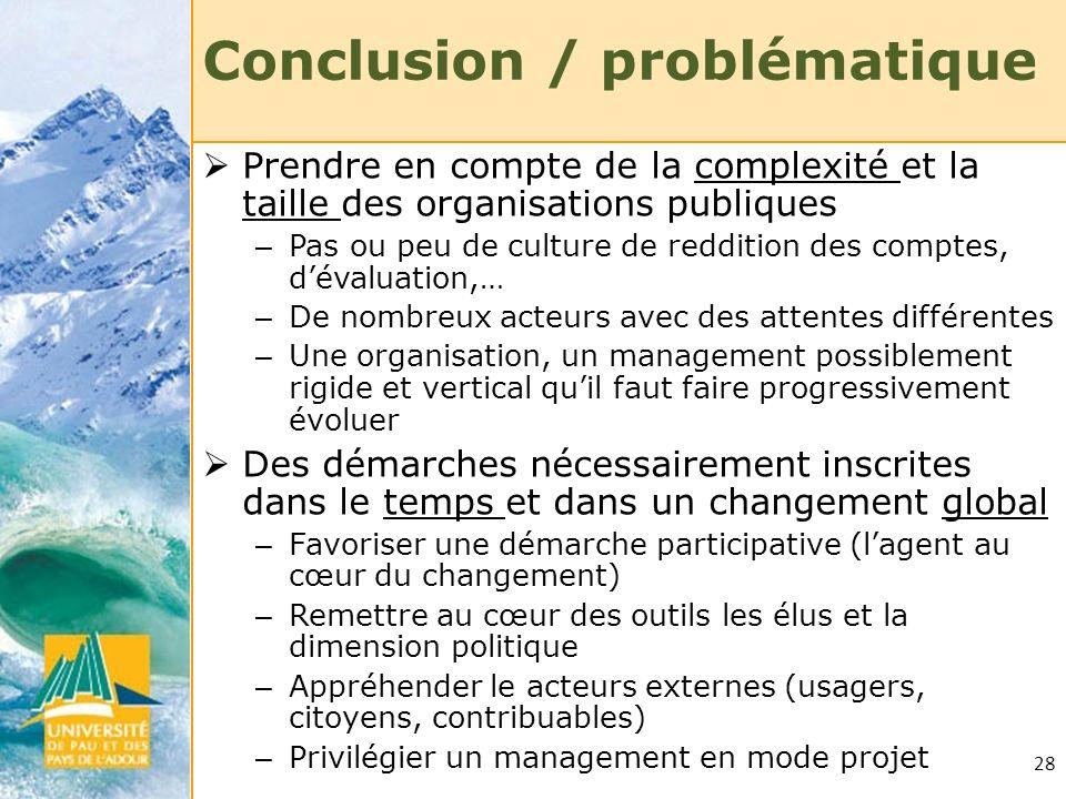 28 Conclusion / problématique Prendre en compte de la complexité et la taille des organisations publiques – Pas ou peu de culture de reddition des com