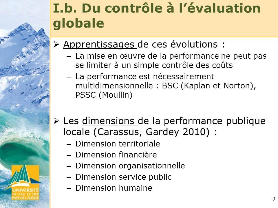 9 I.b. Du contrôle à lévaluation globale Apprentissages de ces évolutions : – La mise en œuvre de la performance ne peut pas se limiter à un simple co