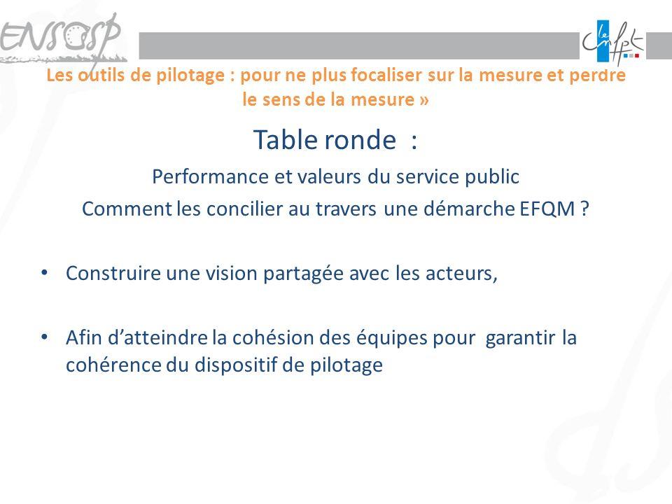 Les outils de pilotage : pour ne plus focaliser sur la mesure et perdre le sens de la mesure » Table ronde : Performance et valeurs du service public