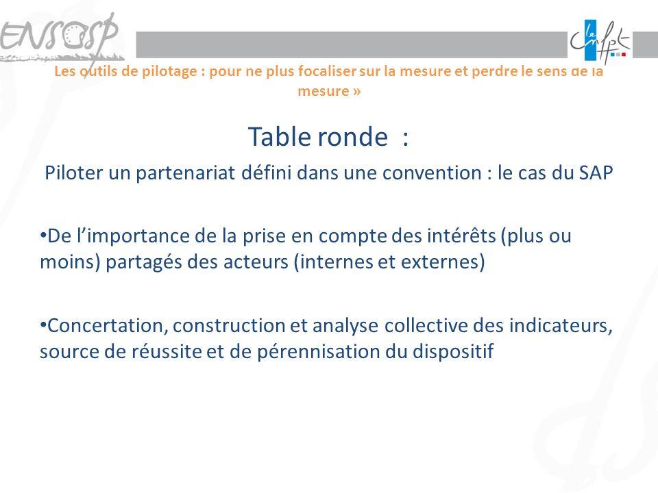 Les outils de pilotage : pour ne plus focaliser sur la mesure et perdre le sens de la mesure » Table ronde : Piloter un partenariat défini dans une co