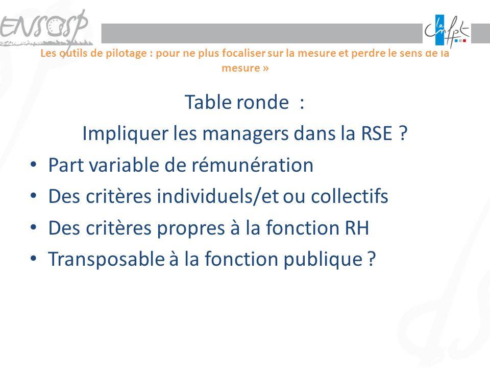 Les outils de pilotage : pour ne plus focaliser sur la mesure et perdre le sens de la mesure » Table ronde : Impliquer les managers dans la RSE ? Part