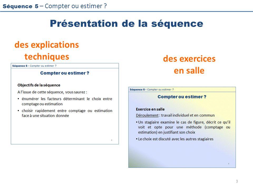 Séquence 5 – Compter ou estimer ? Présentation de la séquence des explications techniques des exercices en salle 3