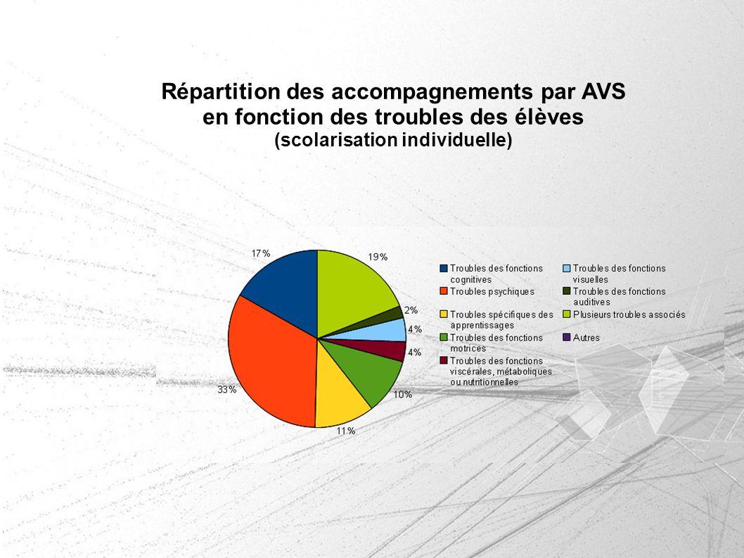 Répartition des accompagnements par AVS en fonction des troubles des élèves (scolarisation individuelle)
