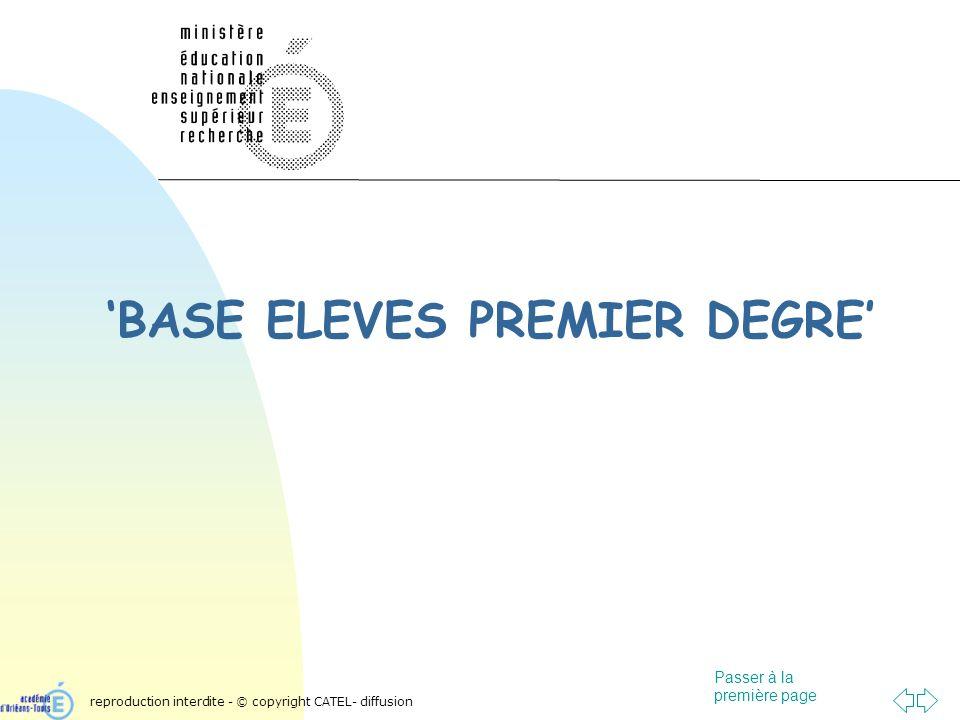 Passer à la première page BASE ELEVES PREMIER DEGRE reproduction interdite - © copyright CATEL- diffusion