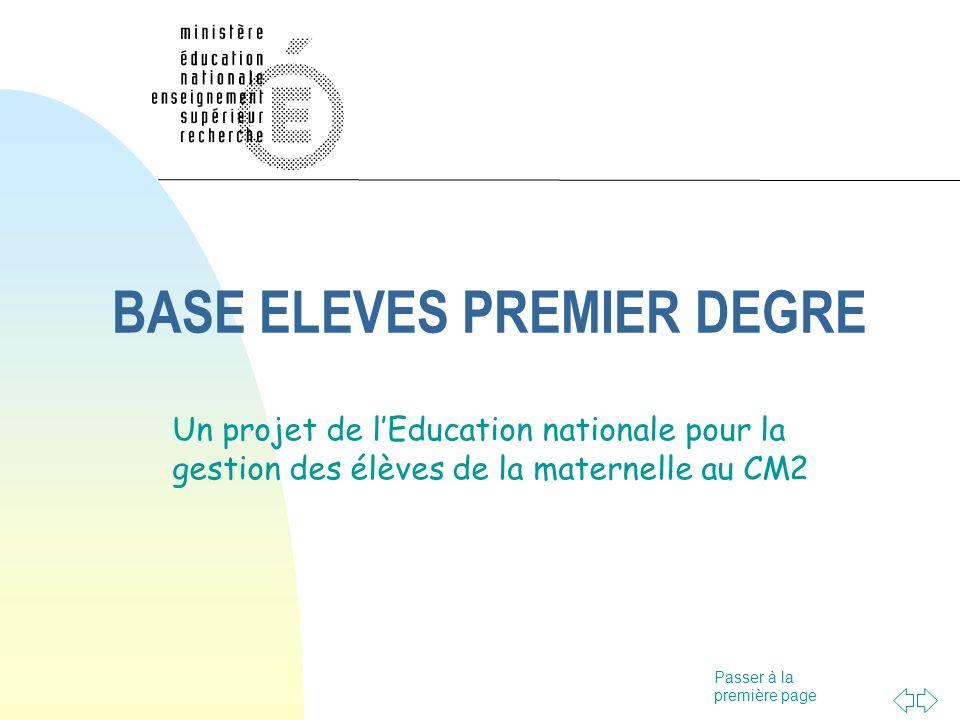 Passer à la première page BASE ELEVES PREMIER DEGRE Un projet de lEducation nationale pour la gestion des élèves de la maternelle au CM2