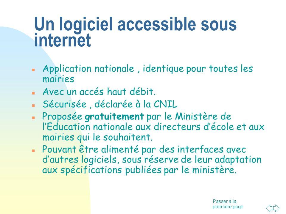 Passer à la première page Un logiciel accessible sous internet Application nationale, identique pour toutes les mairies Avec un accés haut débit.
