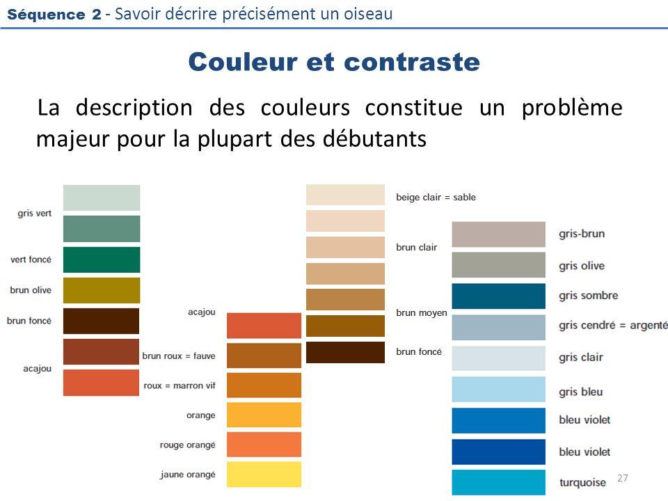 Séquence 2 - Savoir décrire précisément un oiseau Couleur et contraste La description des couleurs constitue un problème majeur pour la plupart des dé