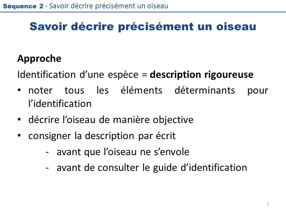 Séquence 2 - Savoir décrire précisément un oiseau Savoir décrire précisément un oiseau Approche Identification dune espèce = description rigoureuse no