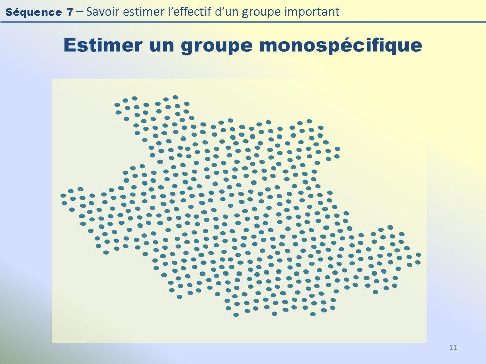 Séquence 7 – Savoir estimer leffectif dun groupe important Estimer un groupe monospécifique 11