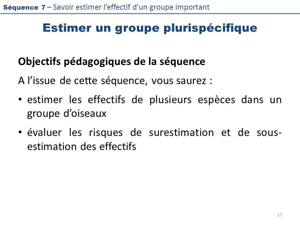 Séquence 7 – Savoir estimer leffectif dun groupe important Estimer un groupe plurispécifique Objectifs pédagogiques de la séquence A lissue de cette s