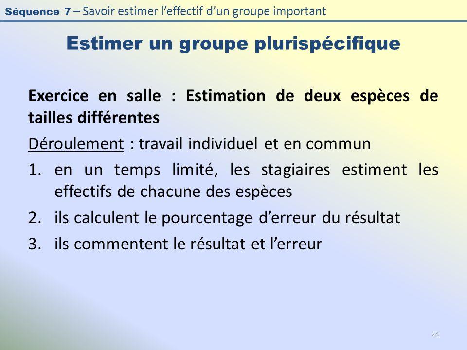 Séquence 7 – Savoir estimer leffectif dun groupe important Estimer un groupe plurispécifique Exercice en salle : Estimation de deux espèces de tailles