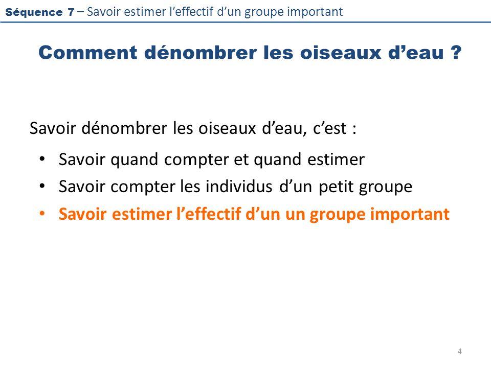 Séquence 7 – Savoir estimer leffectif dun groupe important Estimer un groupe monospécifique 15