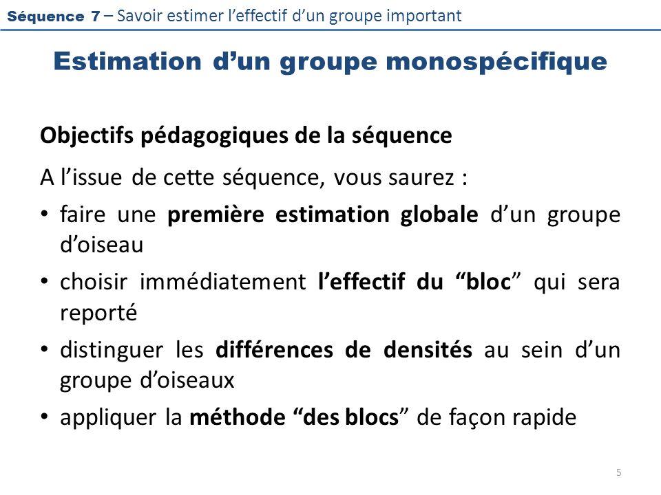 Séquence 7 – Savoir estimer leffectif dun groupe important Estimation dun groupe monospécifique Objectifs pédagogiques de la séquence A lissue de cett