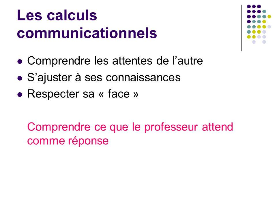 Les calculs communicationnels Comprendre les attentes de lautre Sajuster à ses connaissances Respecter sa « face » Comprendre ce que le professeur att