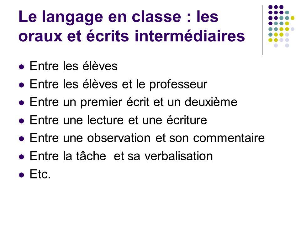 Le langage en classe : les oraux et écrits intermédiaires Entre les élèves Entre les élèves et le professeur Entre un premier écrit et un deuxième Ent