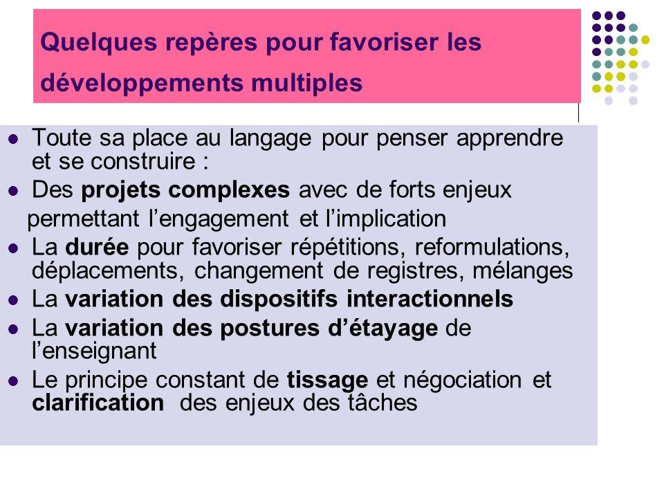 Quelques repères pour favoriser les développements multiples Toute sa place au langage pour penser apprendre et se construire : Des projets complexes