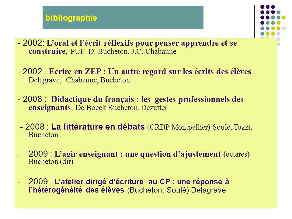bibliographie - 2002: Loral et lécrit réflexifs pour penser apprendre et se construire, PUF D. Bucheton, J.C. Chabanne - 2002 : Ecrire en ZEP : Un aut