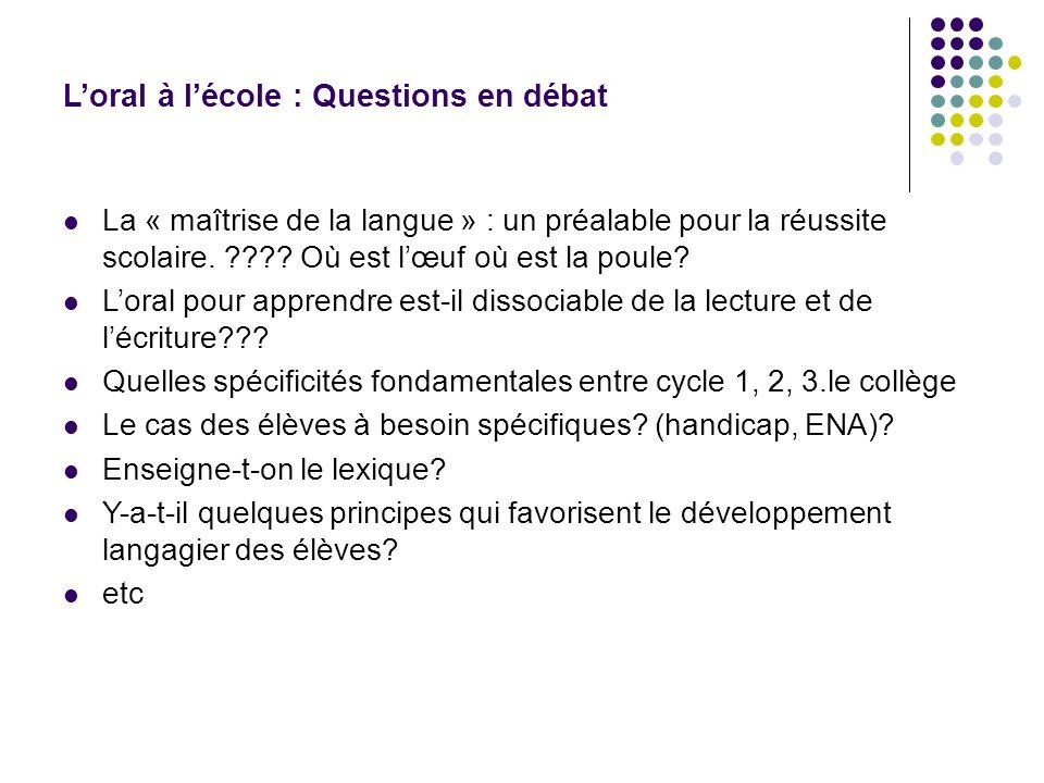 Loral à lécole : Questions en débat La « maîtrise de la langue » : un préalable pour la réussite scolaire. ???? Où est lœuf où est la poule? Loral pou