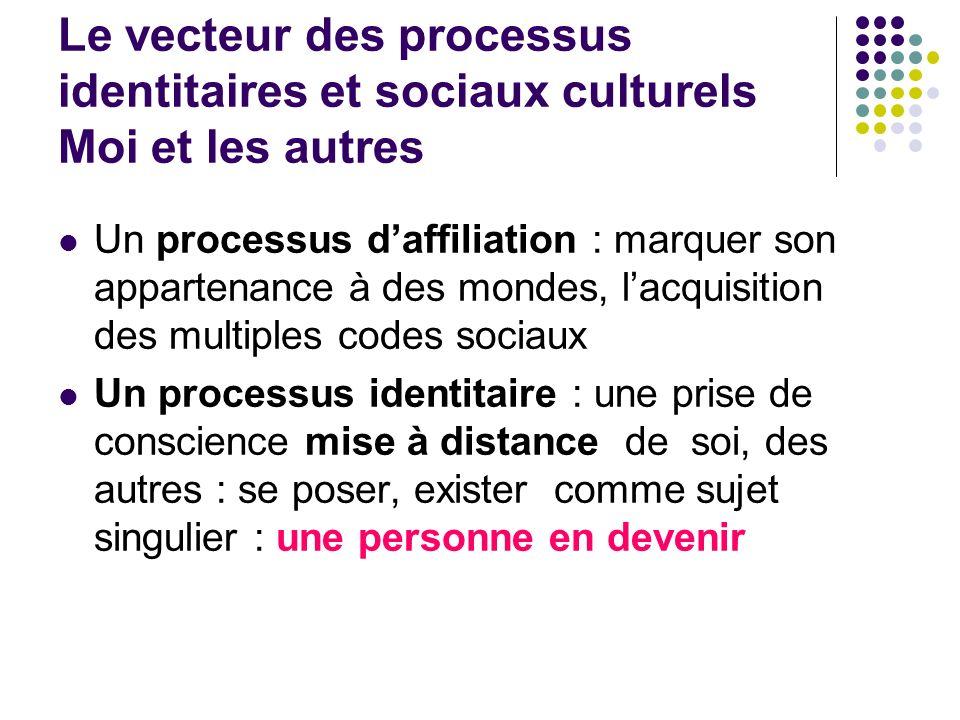 Le vecteur des processus identitaires et sociaux culturels Moi et les autres Un processus daffiliation : marquer son appartenance à des mondes, lacqui