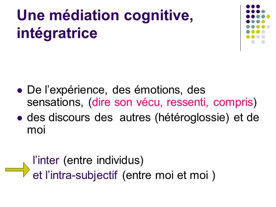 Une médiation cognitive, intégratrice De lexpérience, des émotions, des sensations, (dire son vécu, ressenti, compris) des discours des autres (hétéro
