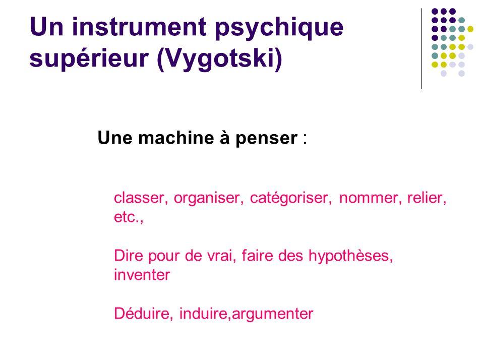 Un instrument psychique supérieur (Vygotski) Une machine à penser : classer, organiser, catégoriser, nommer, relier, etc., Dire pour de vrai, faire de