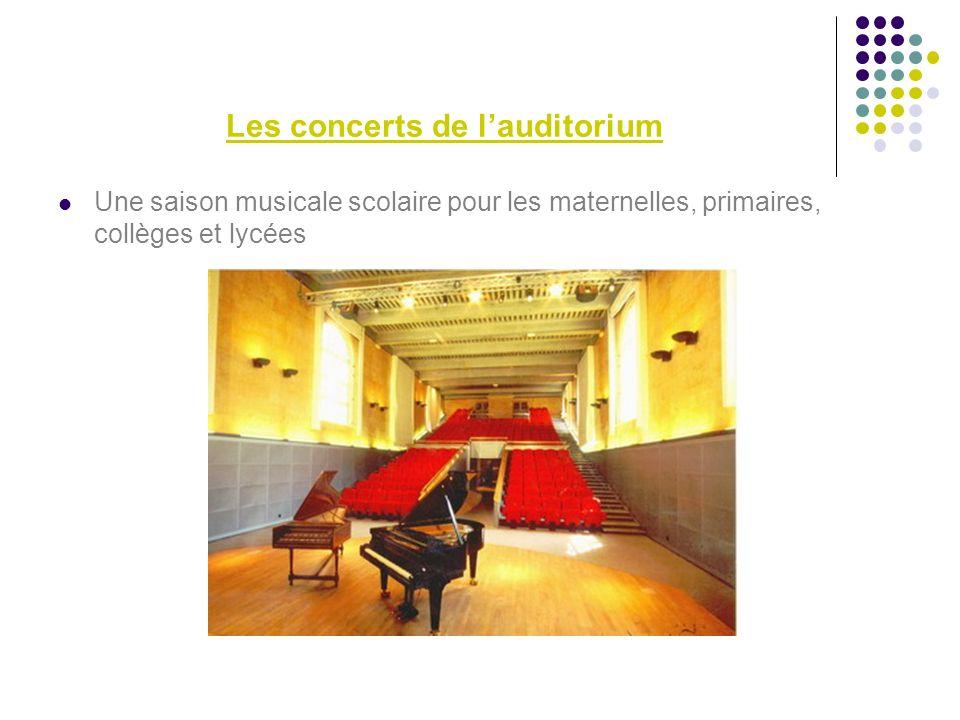 Les concerts de lauditorium Une saison musicale scolaire pour les maternelles, primaires, collèges et lycées