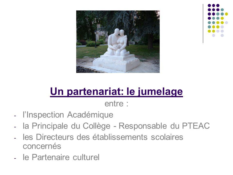 Un partenariat: le jumelage entre : - lInspection Académique - la Principale du Collège - Responsable du PTEAC - les Directeurs des établissements scolaires concernés - le Partenaire culturel