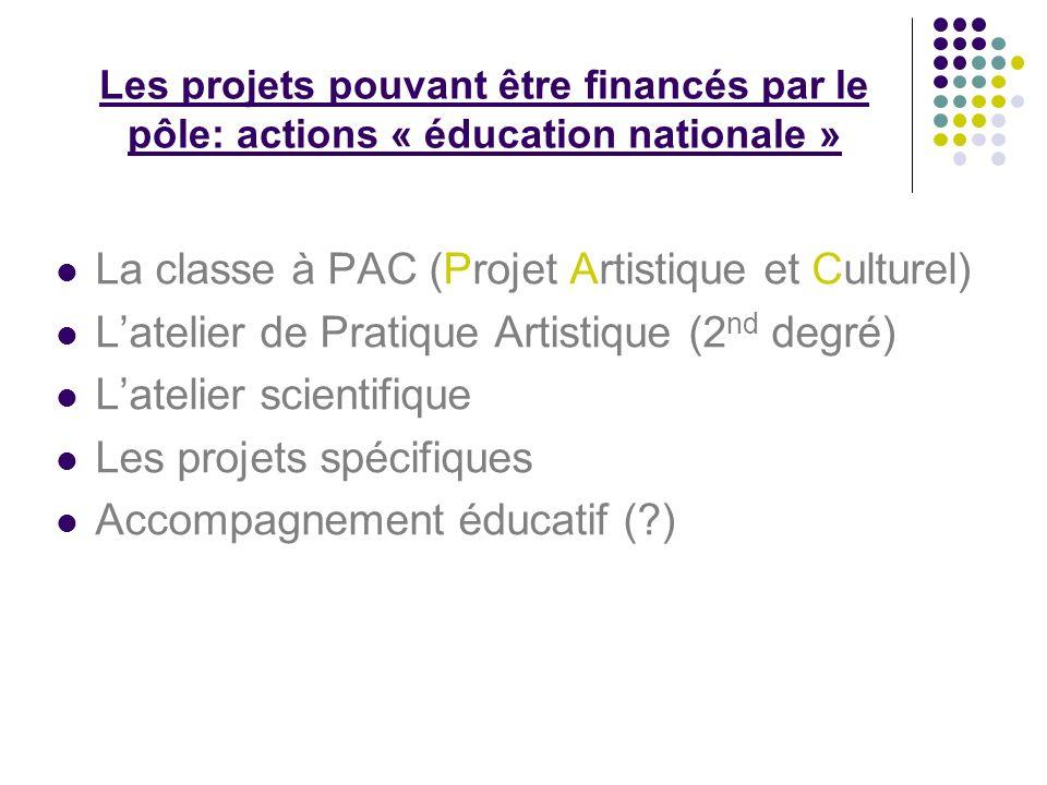 Les projets pouvant être financés par le pôle: actions « éducation nationale » La classe à PAC (Projet Artistique et Culturel) Latelier de Pratique Artistique (2 nd degré) Latelier scientifique Les projets spécifiques Accompagnement éducatif ( )