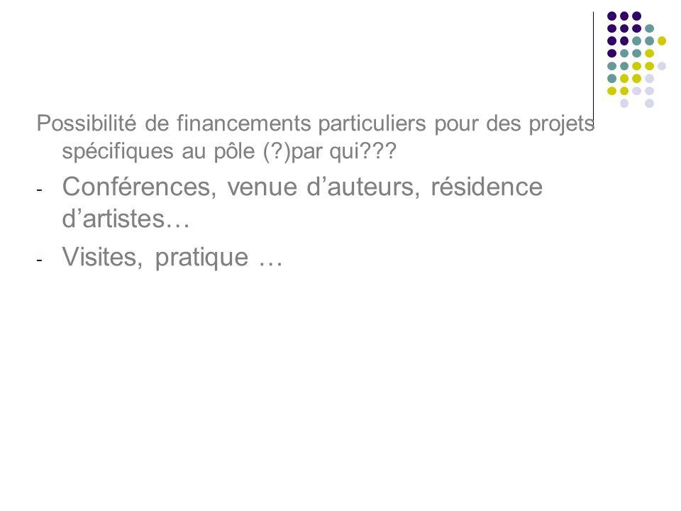 Possibilité de financements particuliers pour des projets spécifiques au pôle (?)par qui??.