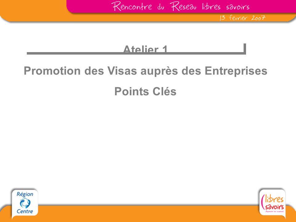 Atelier 1 Promotion des Visas auprès des Entreprises Points Clés