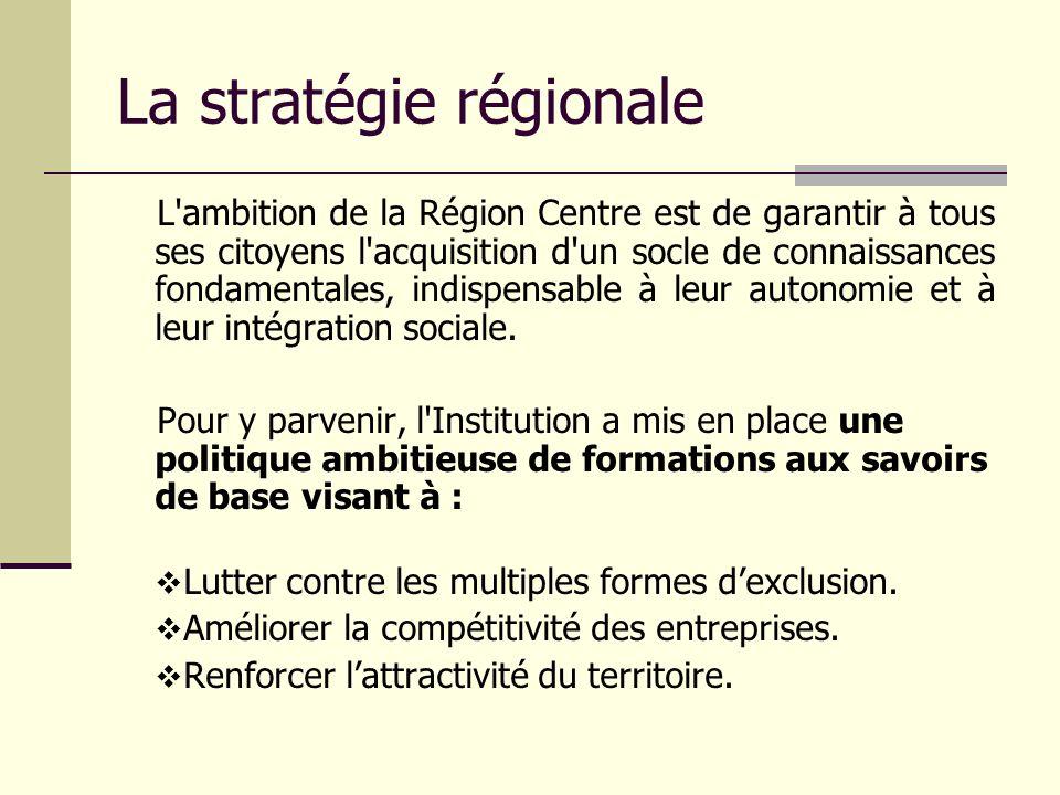 La stratégie régionale L'ambition de la Région Centre est de garantir à tous ses citoyens l'acquisition d'un socle de connaissances fondamentales, ind