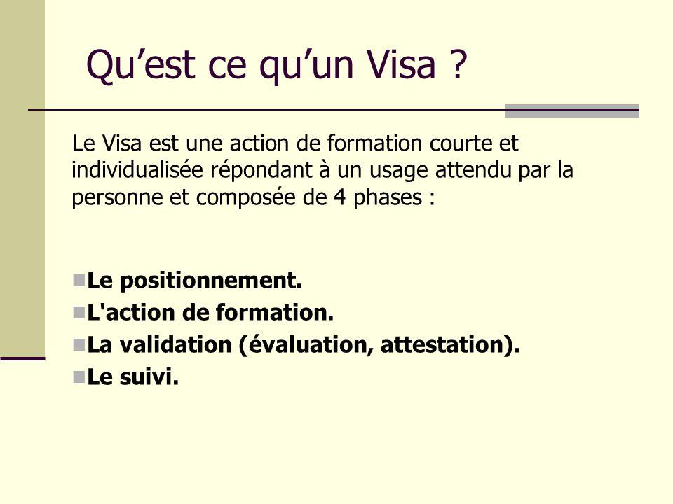 Quest ce quun Visa ? Le Visa est une action de formation courte et individualisée répondant à un usage attendu par la personne et composée de 4 phases