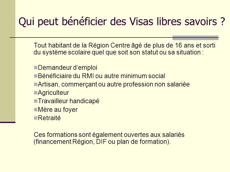 Qui peut bénéficier des Visas libres savoirs ? Tout habitant de la Région Centre âgé de plus de 16 ans et sorti du système scolaire quel que soit son