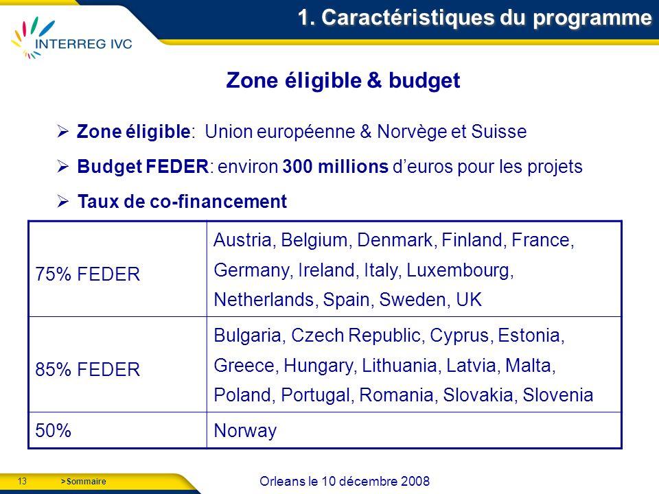 13 Orleans le 10 décembre 2008 >Sommaire Zone éligible: Union européenne & Norvège et Suisse Budget FEDER: environ 300 millions deuros pour les projets Taux de co-financement 1.