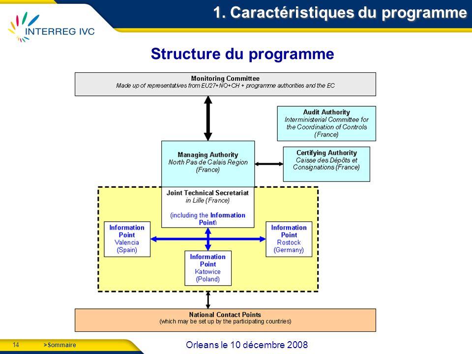 14 Orleans le 10 décembre 2008 >Sommaire 1. Caractéristiques du programme Structure du programme