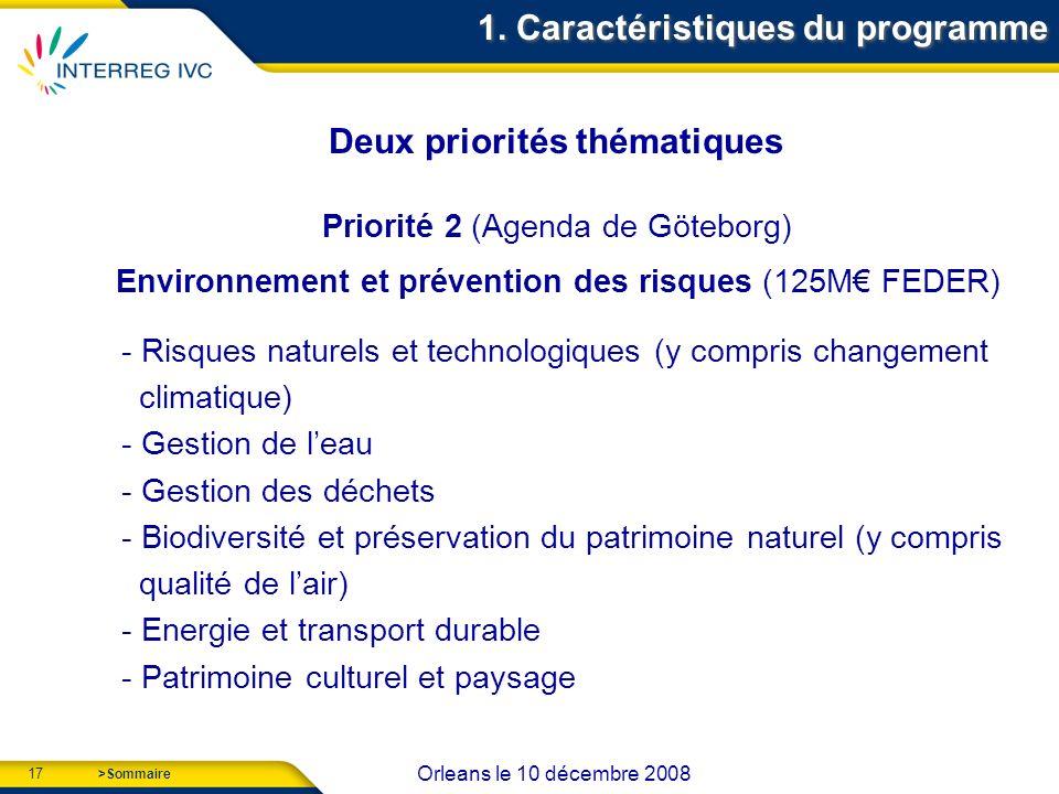 17 Orleans le 10 décembre 2008 >Sommaire Deux priorités thématiques Priorité 2 (Agenda de Göteborg) Environnement et prévention des risques (125M FEDER) - Risques naturels et technologiques (y compris changement climatique) - Gestion de leau - Gestion des déchets - Biodiversité et préservation du patrimoine naturel (y compris qualité de lair) - Energie et transport durable - Patrimoine culturel et paysage 1.