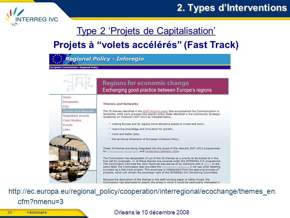 24 Orleans le 10 décembre 2008 >Sommaire http://ec.europa.eu/regional_policy/cooperation/interregional/ecochange/themes_en.