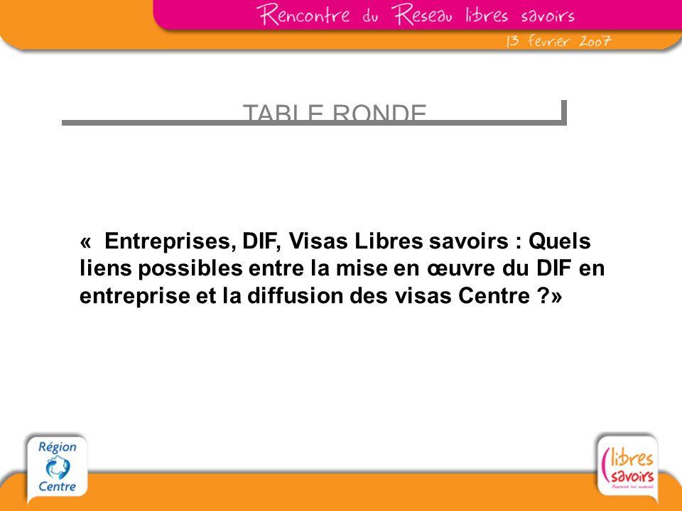 TABLE RONDE « Entreprises, DIF, Visas Libres savoirs : Quels liens possibles entre la mise en œuvre du DIF en entreprise et la diffusion des visas Centre ?»