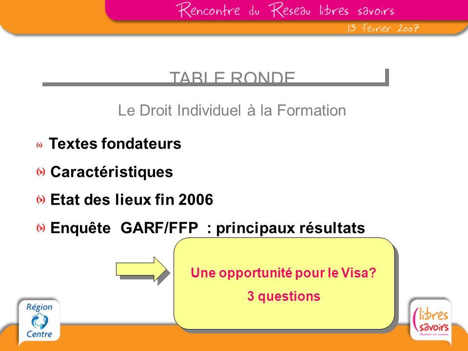 TABLE RONDE Le Droit Individuel à la Formation Textes fondateurs Caractéristiques Etat des lieux fin 2006 Enquête GARF/FFP : principaux résultats Une opportunité pour le Visa.