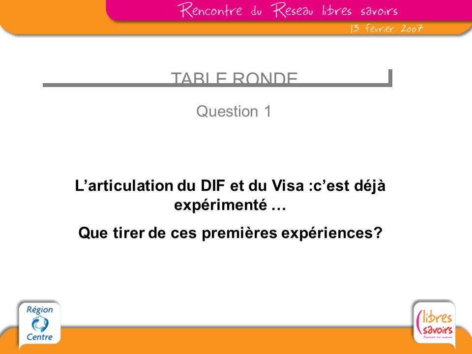 TABLE RONDE Question 1 Larticulation du DIF et du Visa :cest déjà expérimenté … Que tirer de ces premières expériences?