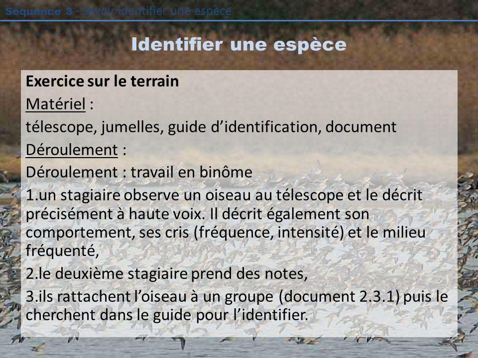 Séquence 3 - Savoir identifier une espèce Identifier une espèce Exercice sur le terrain Matériel : télescope, jumelles, guide didentification, documen