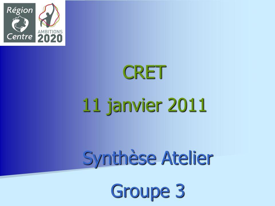 Synthèse Atelier Groupe 3 CRET 11 janvier 2011