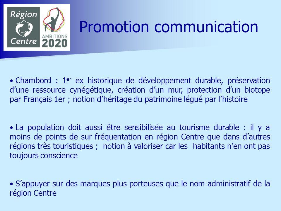 Promouvoir la Loire à vélo comme un exemple : aménagement tant au service des touristes quà celui de la population ; les habitants doivent être les garants du produit Loire à vélo ; attention à la sur fréquentation de certains points Valoriser les « plus produits » répondant aux objectifs du développement durable mis en œuvre par les acteurs touristiques à lexemple de léco construction Communiquer sur le fait que les Démarches « qualité Tourisme » intègrent les critères du tourisme durable dans la démarche globale de qualité : exemple de celle menée par le CDT Touraine de Sully jusquà Nantes pour les sites de visite